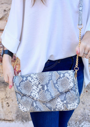 Lauren Snake Denim Crossbody - Caroline Hill