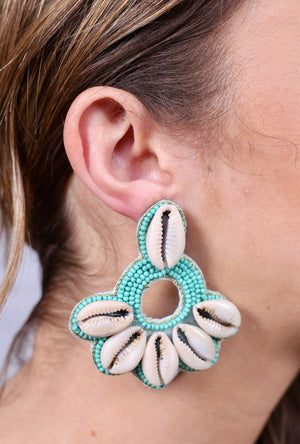 Leeman Shell and Turquoise Beaded Earring - Caroline Hill