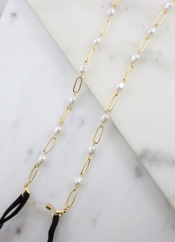 Leland Mask Chain Necklace With Pearls Gold - Caroline Hill