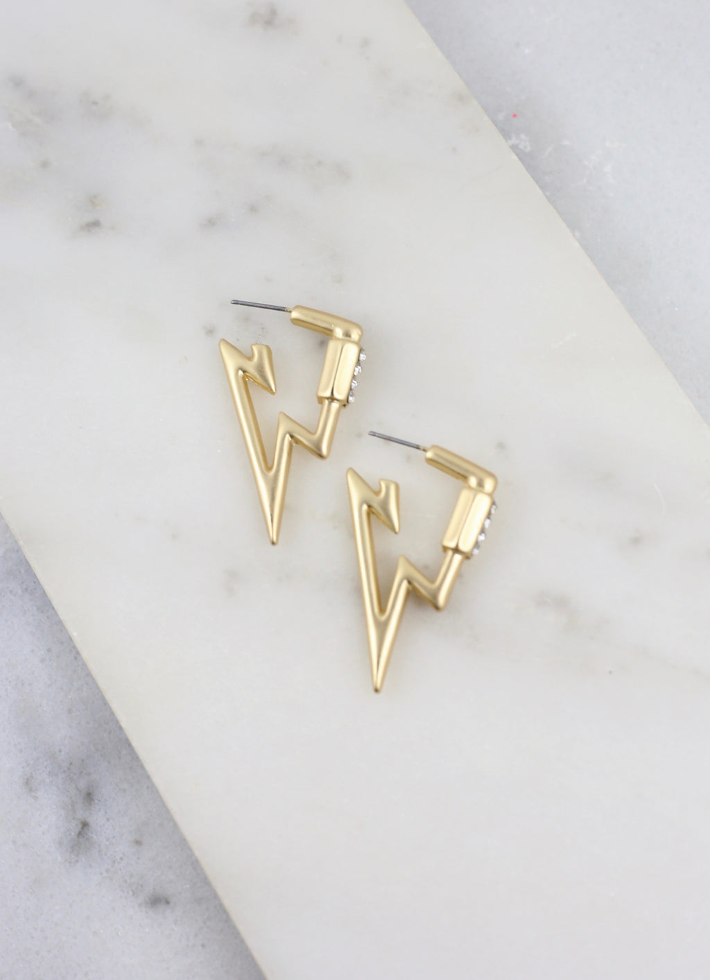 Lennie Gold Lightning Bolt Earring with CZ Accent - Caroline Hill