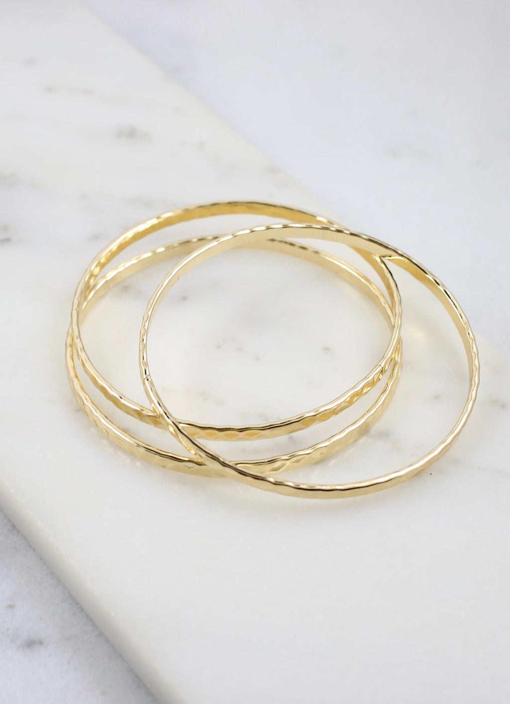 Leonardo Hammered Gold Bracelet Set - Caroline Hill