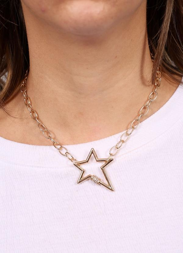 Lessie Star Necklace With Cz Accent Gold - Caroline Hill