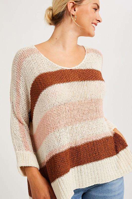 Let's Groove Tonight Cream Striped Sweater - Caroline Hill