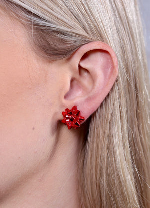 Let's Wrap Bow Stud Earring Red - Caroline Hill