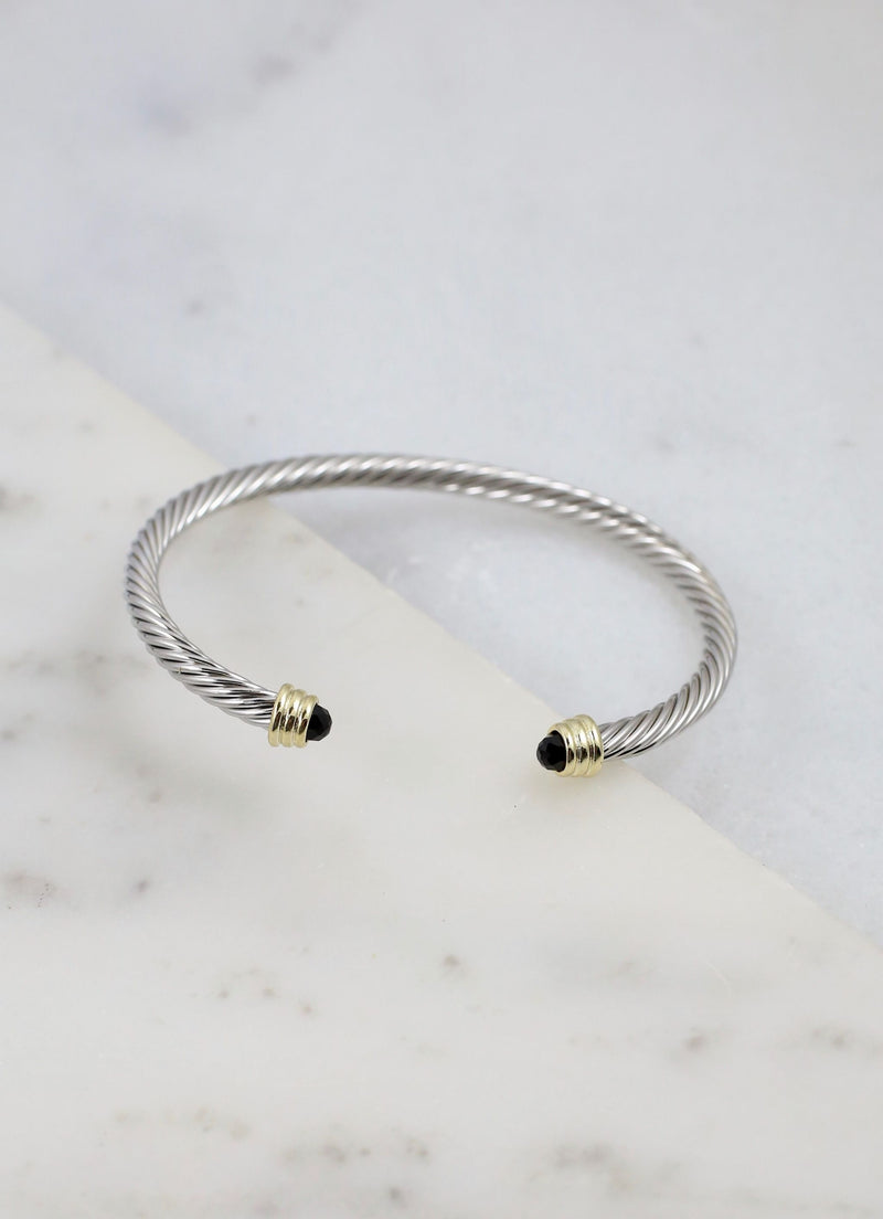 Lewis Cable Bracelet With Stone Ends Black - Caroline Hill