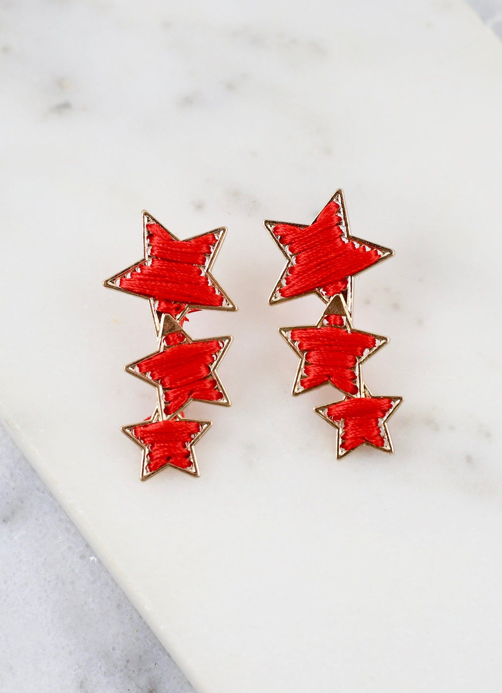 Liberty Triple Red Star Earring - Caroline Hill