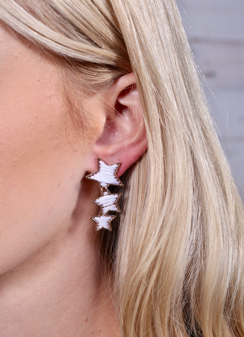 Liberty Triple White Star Earring - Caroline Hill