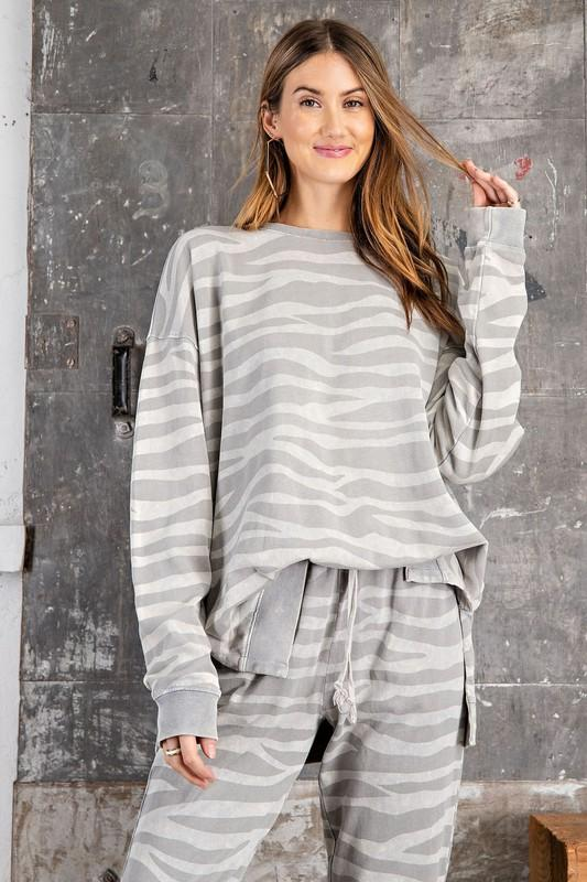 Light Grey Animal Print Pullover - Caroline Hill