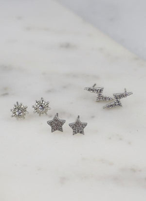 Lights Out Set Of 3 Stud Earrings Silver - Caroline Hill