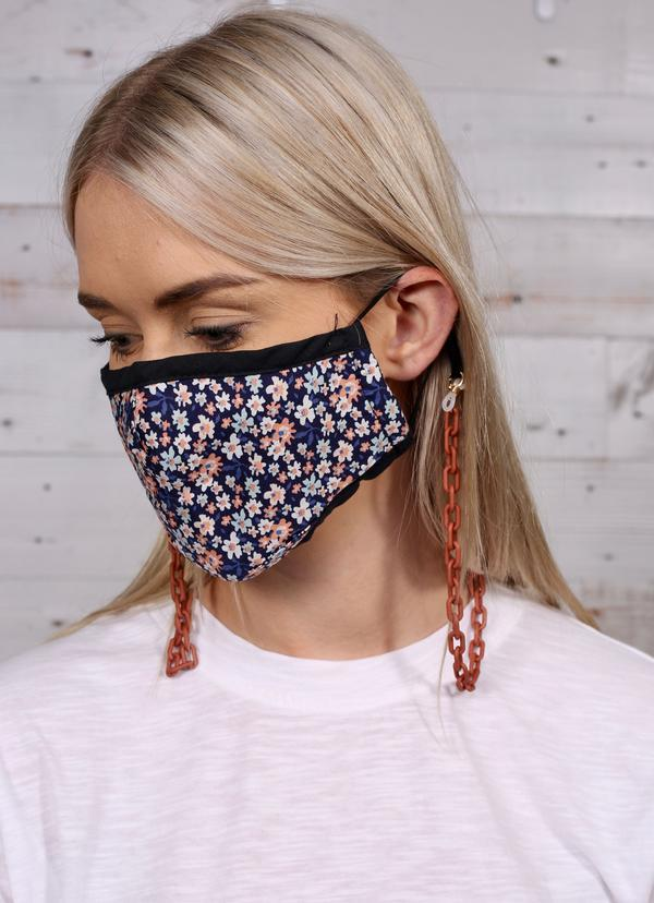 Liliana Matte Mask Chain Rust - Caroline Hill