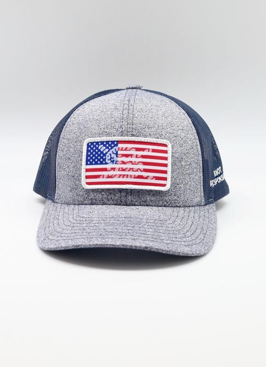 Limited Edition USA Patch Low Pro Trucker Hat- Navy/ Heather Navy - Caroline Hill