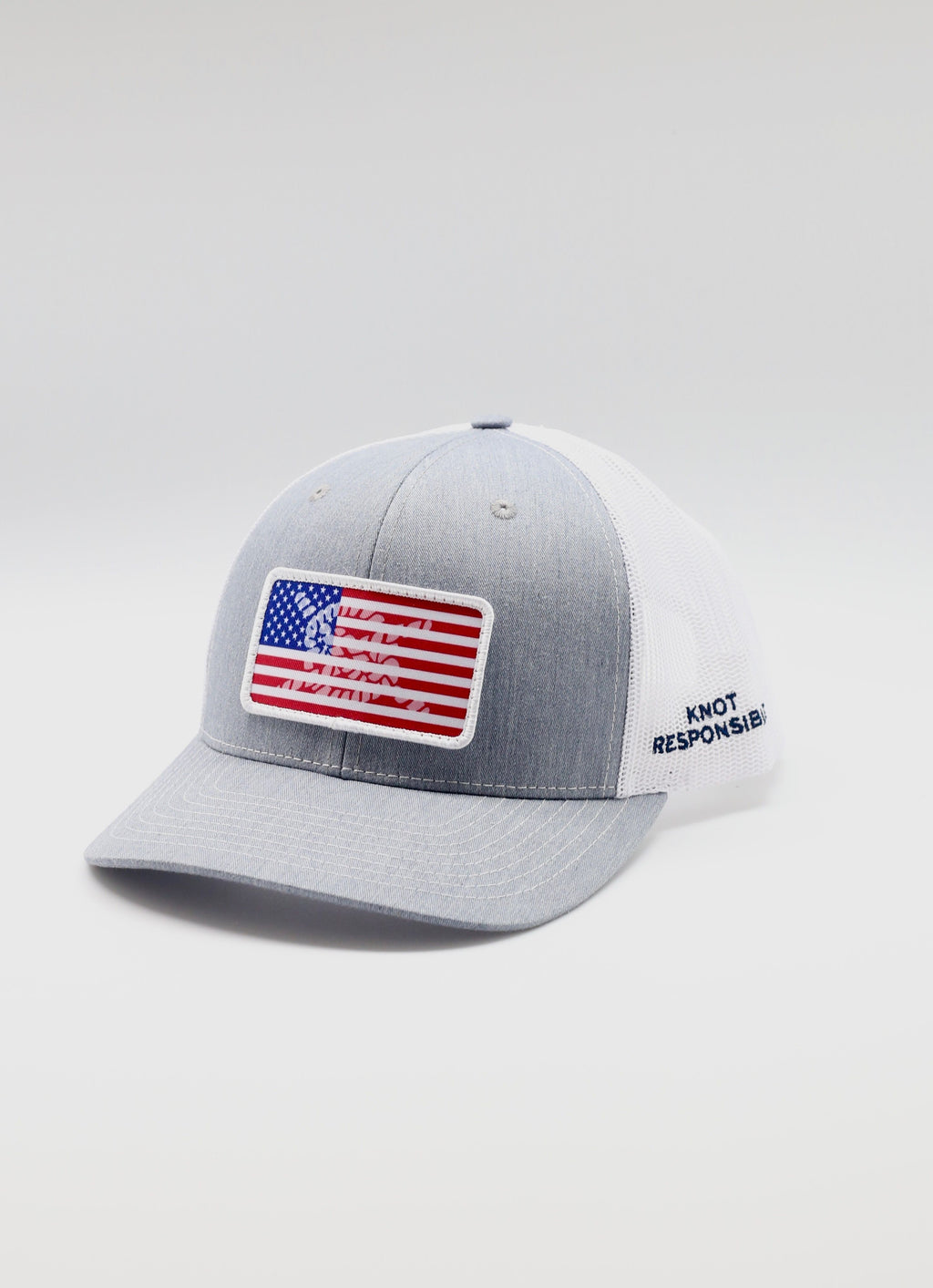 Limited Edition USA Patch Trucker Hat- Grey/White - Caroline Hill