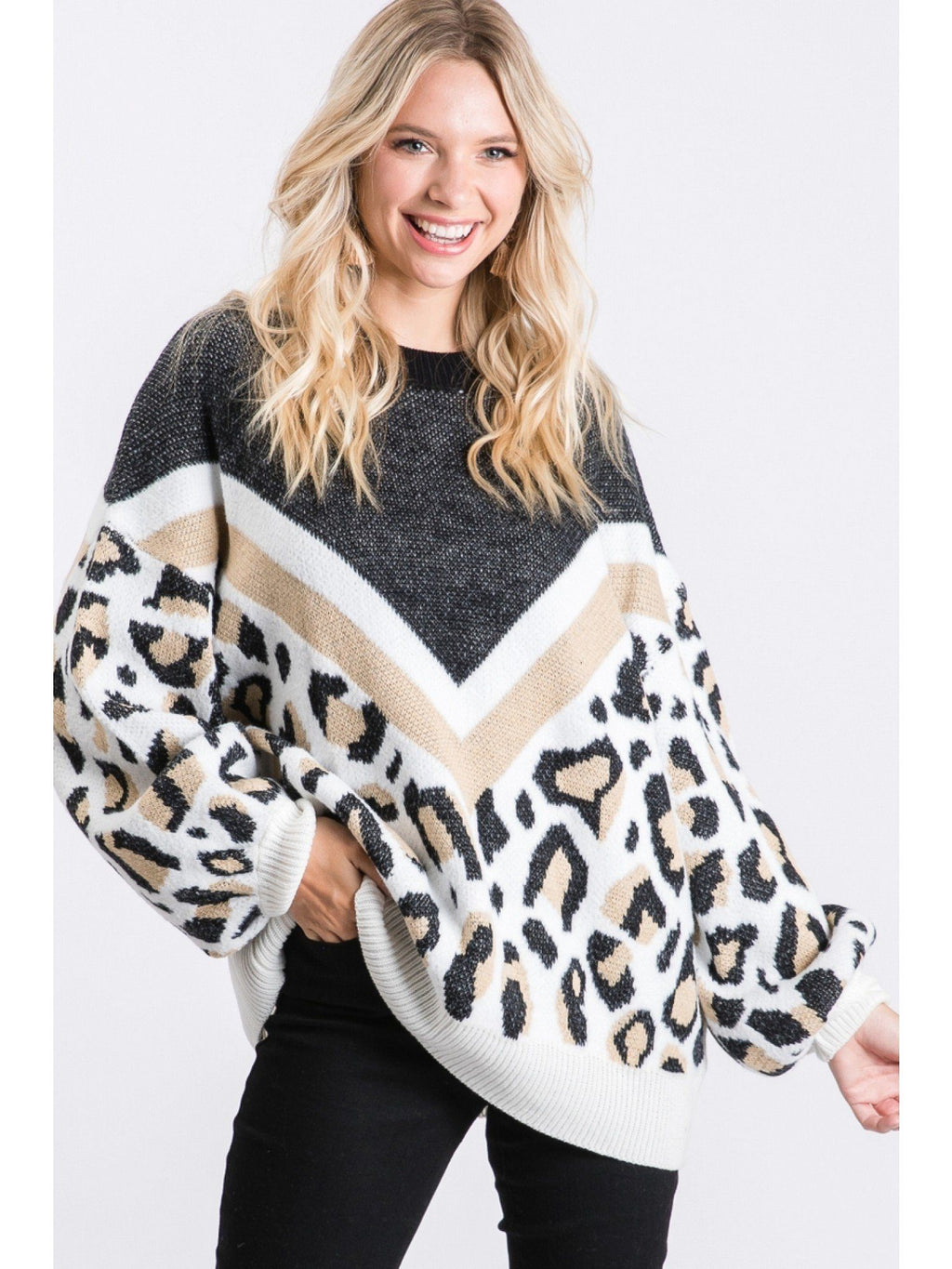Limitless Options Black Leopard Block Sweater - Caroline Hill
