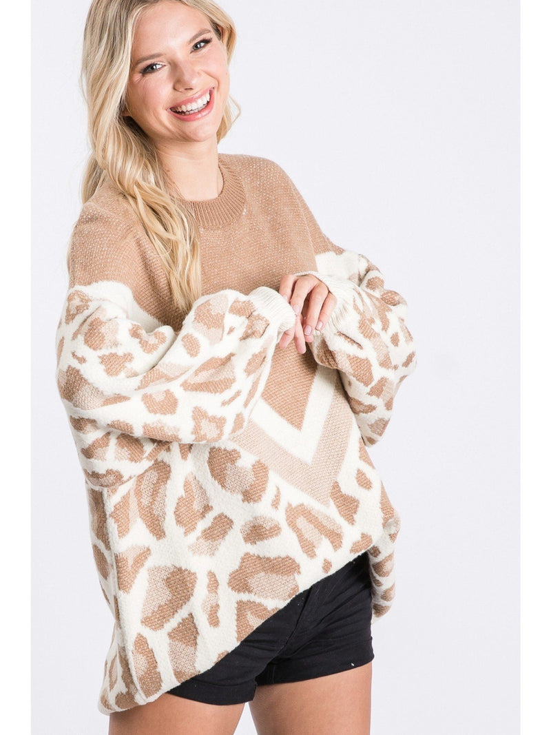 Limitless Options Taupe Leopard Block Sweater - Caroline Hill