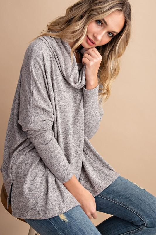 Little Less Talk Oatmeal Cowl Neck Top - Caroline Hill