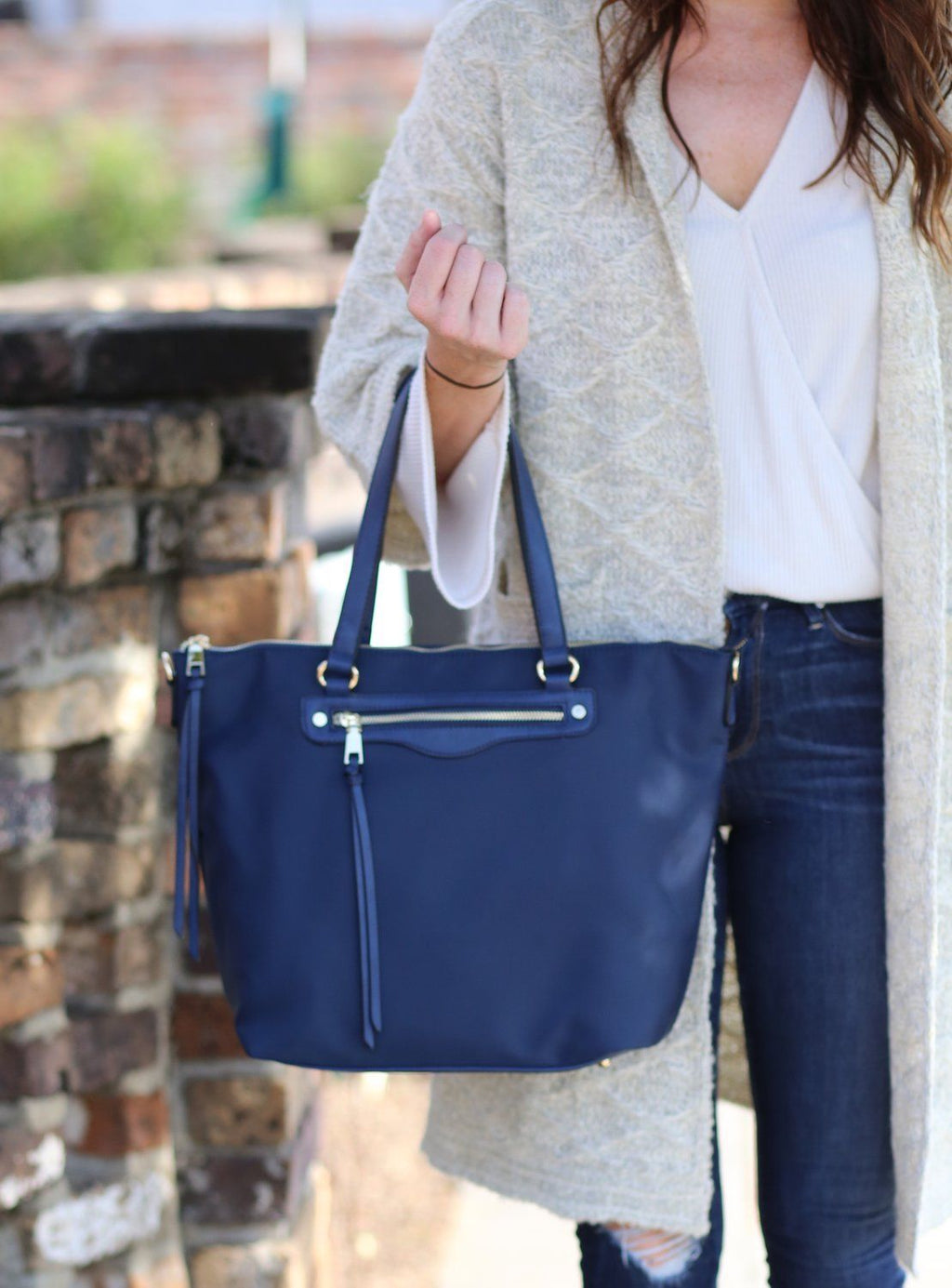 Littleton Navy Nylon Tote - Caroline Hill