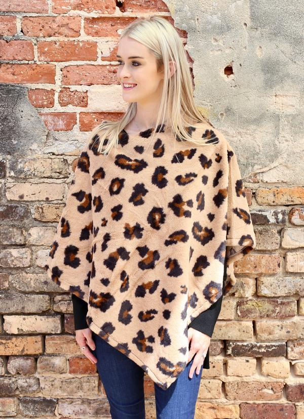 Lively Leopard Faux Fur Poncho Brown - Caroline Hill