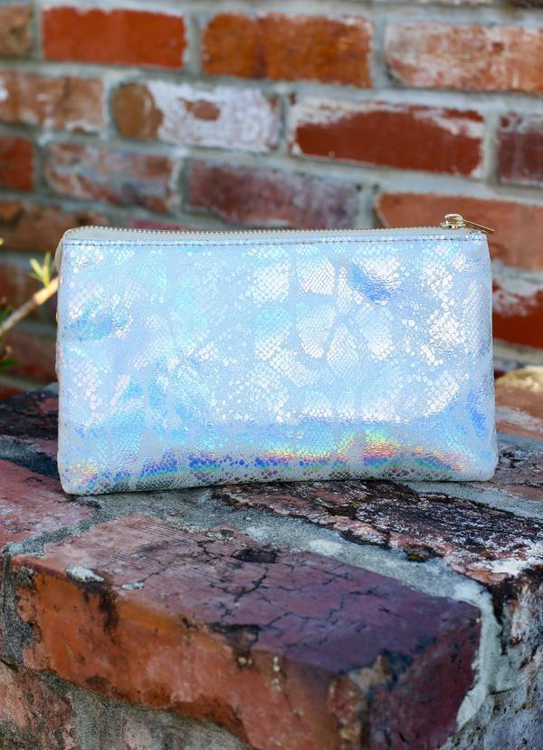 Liz Crossbody Snake Light Gray Hologram - Caroline Hill