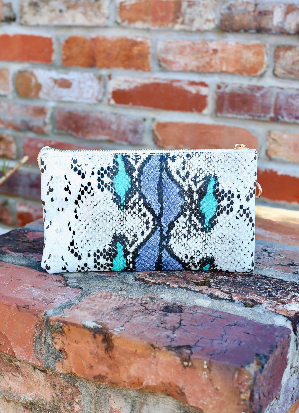 Liz Snake Blue Mix Crossbody - Caroline Hill