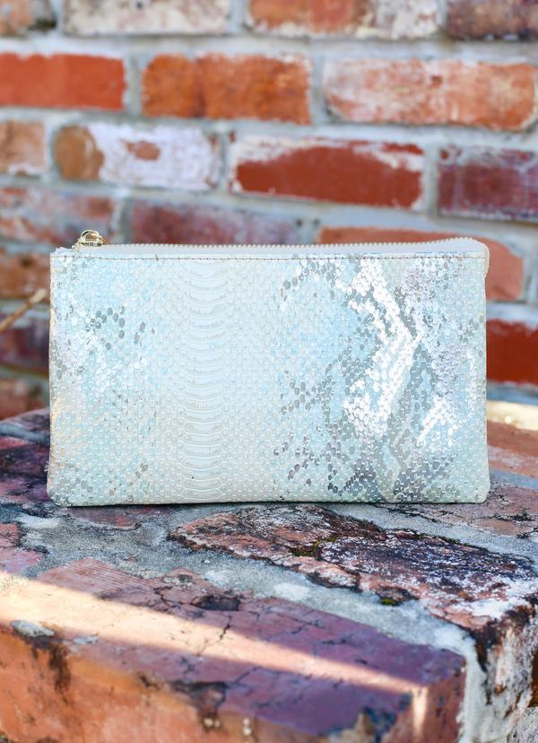 Liz Snake Metallic Mint Crossbody - Caroline Hill