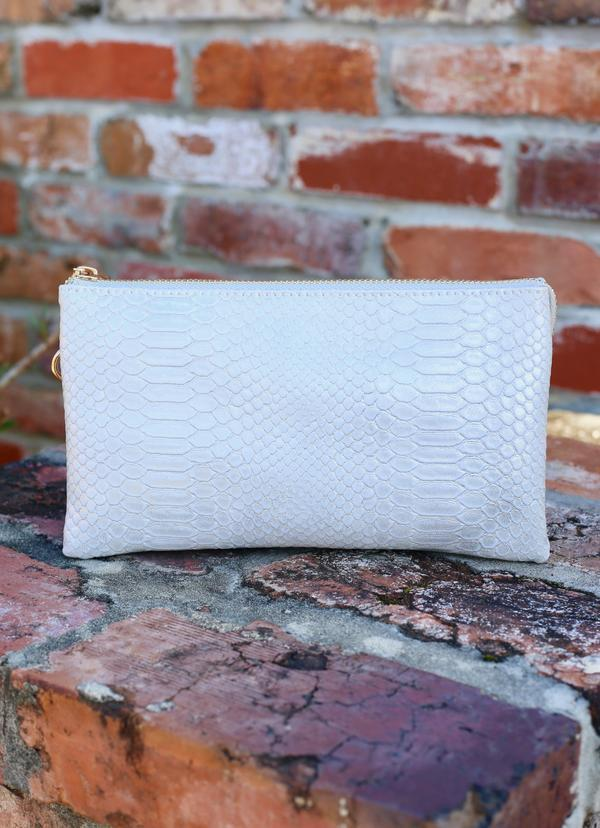 Liz Snake Pale Gray Crossbody - Caroline Hill