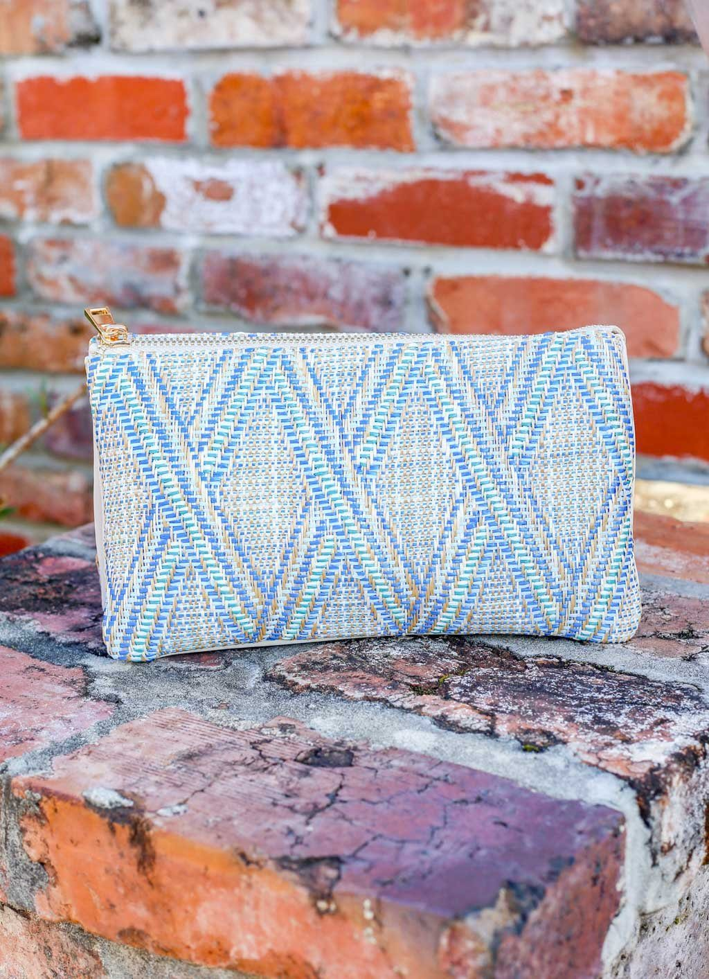 Liz Straw Blue Lattice Crossbody - Caroline Hill