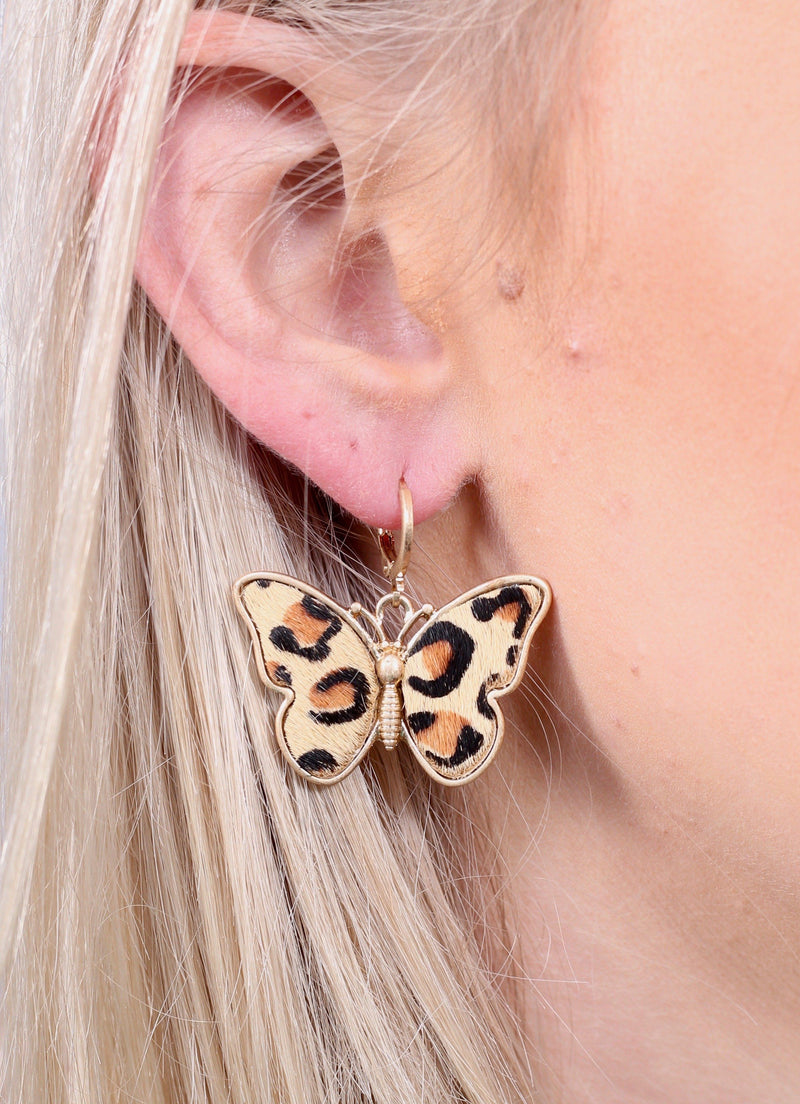 Loffler Animal Print Butterfly Earring - Caroline Hill