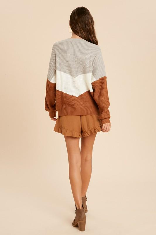 Long Live Camel Colorblock Chevron Sweater - Caroline Hill