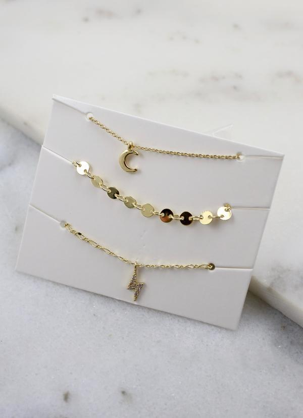 Lora Three Necklace Set Gold - Caroline Hill