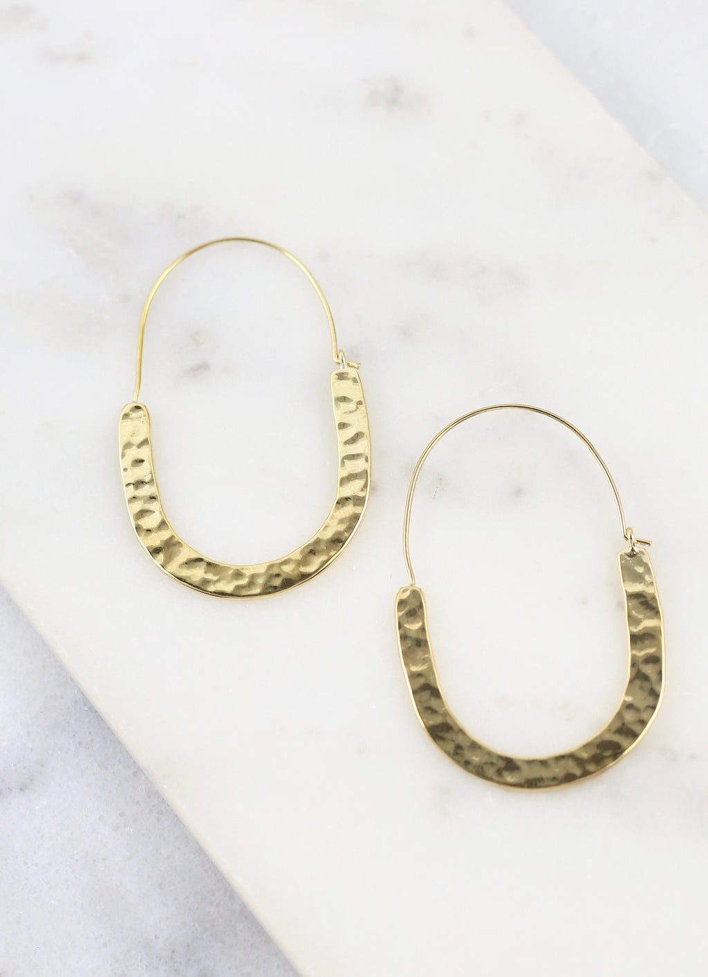 Lova Gold Hammered Threader Hoop - Caroline Hill