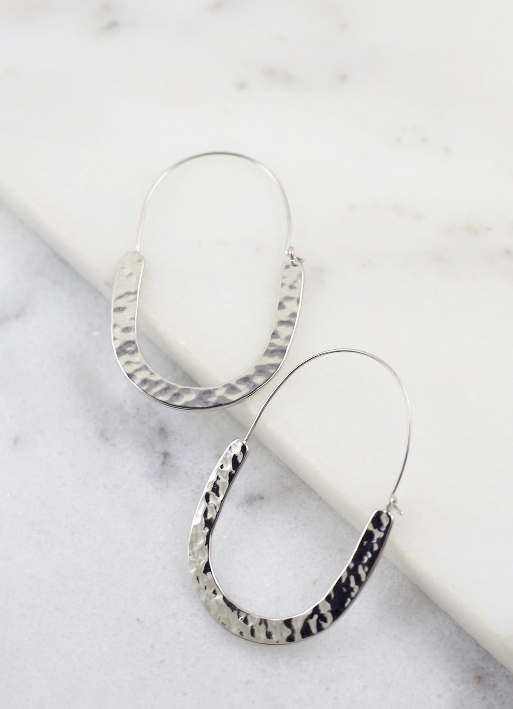 Lova Silver Hammered Threader Hoop - Caroline Hill