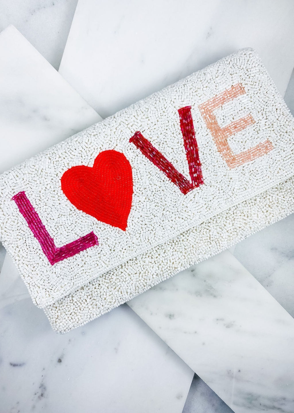 Love Beaded Clutch/Crossbody White - Caroline Hill