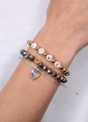 Love Hematite Beaded Bracelet Set - Caroline Hill