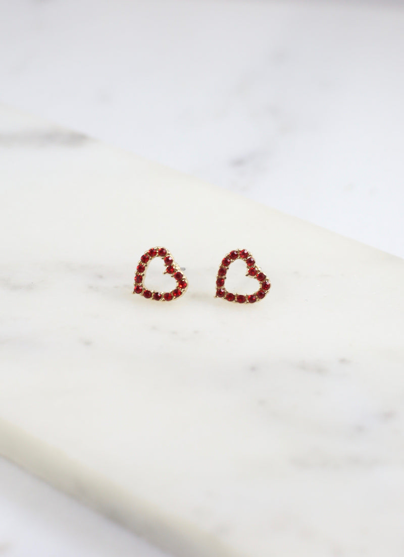 Lovebug Heart Stud Earring Red - Caroline Hill