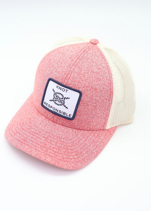 Low Pro Trucker Hat Classic Logo- Heather Red - Caroline Hill