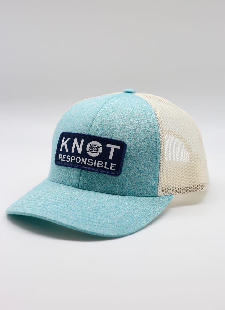 Low Pro Trucker Hat Stacked Logo- Heather Teal - Caroline Hill