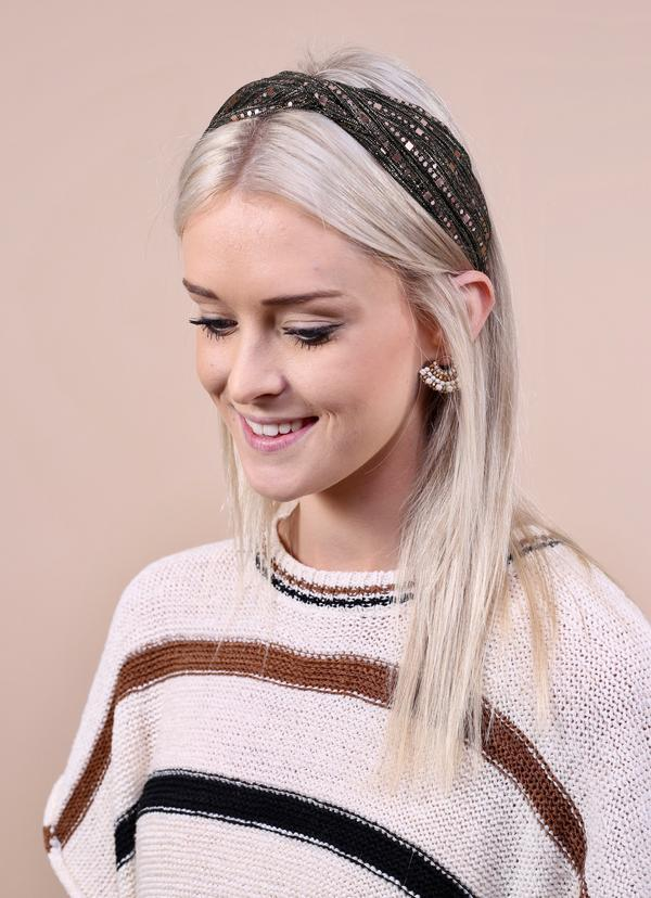 Ludgate Gold Sequined Black Headband - Caroline Hill