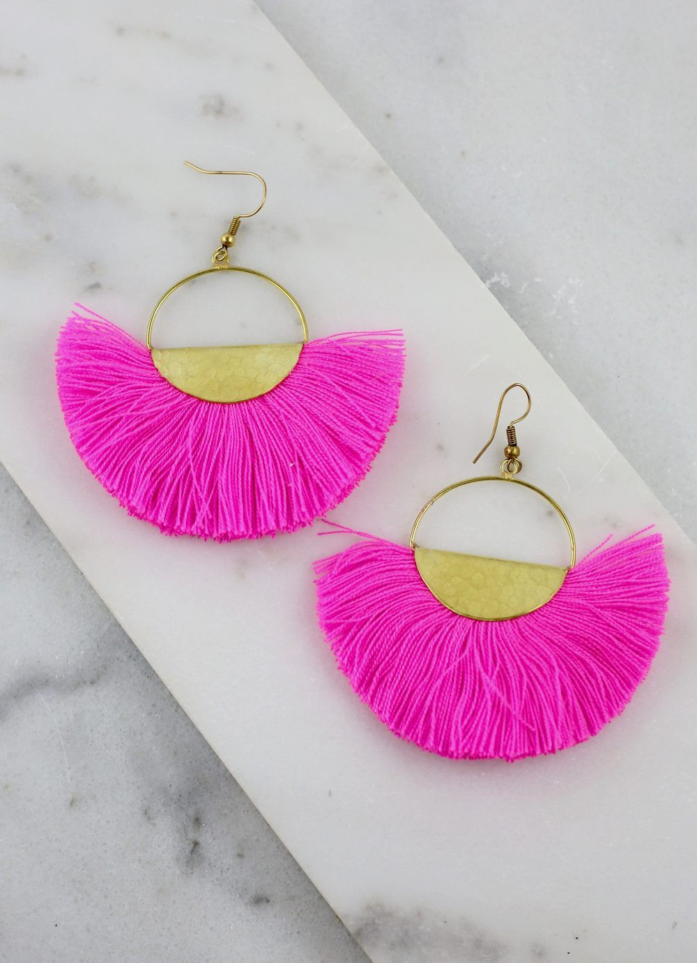 Luna Hot Pink Threaded Earring - Caroline Hill