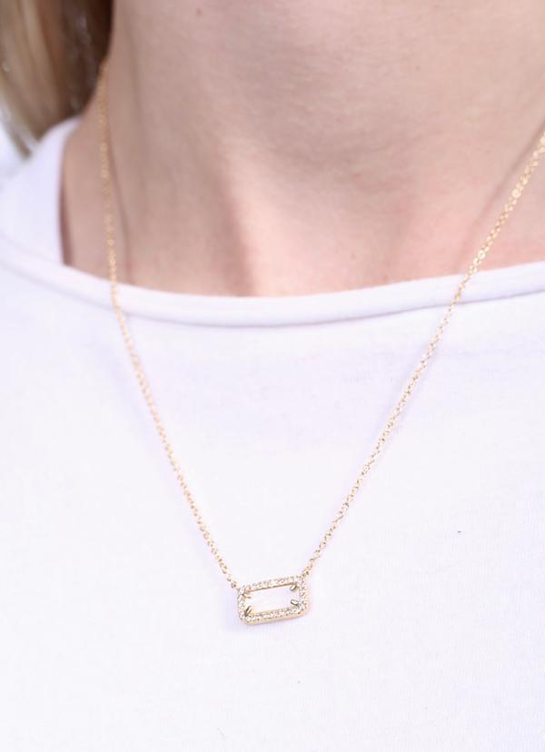 Luna Mother Of Pearl Rectangle Necklace - Caroline Hill