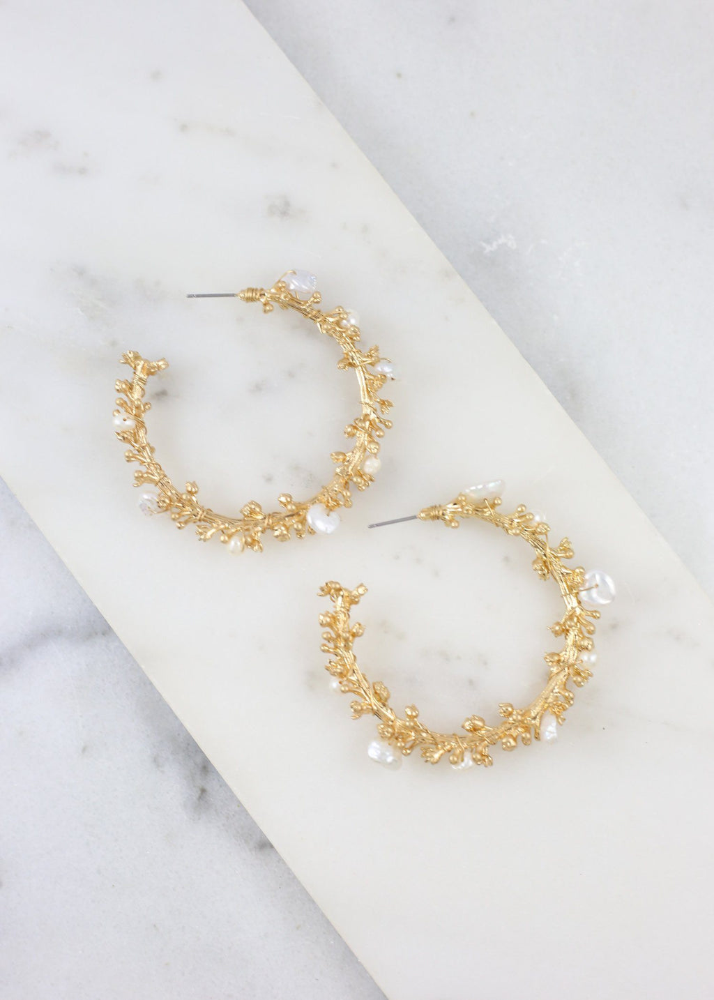 Lyla Branch And Pearl Hoop Gold - Caroline Hill
