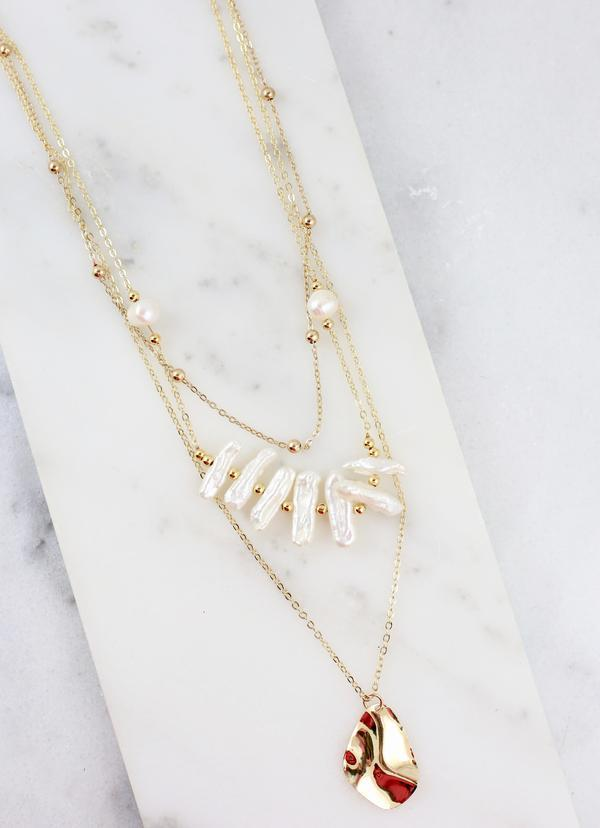 Lynda Gold And Pearl Layered Necklace - Caroline Hill