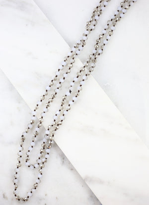 Lyndon Long Gray Beaded Wrap Necklace - Caroline Hill