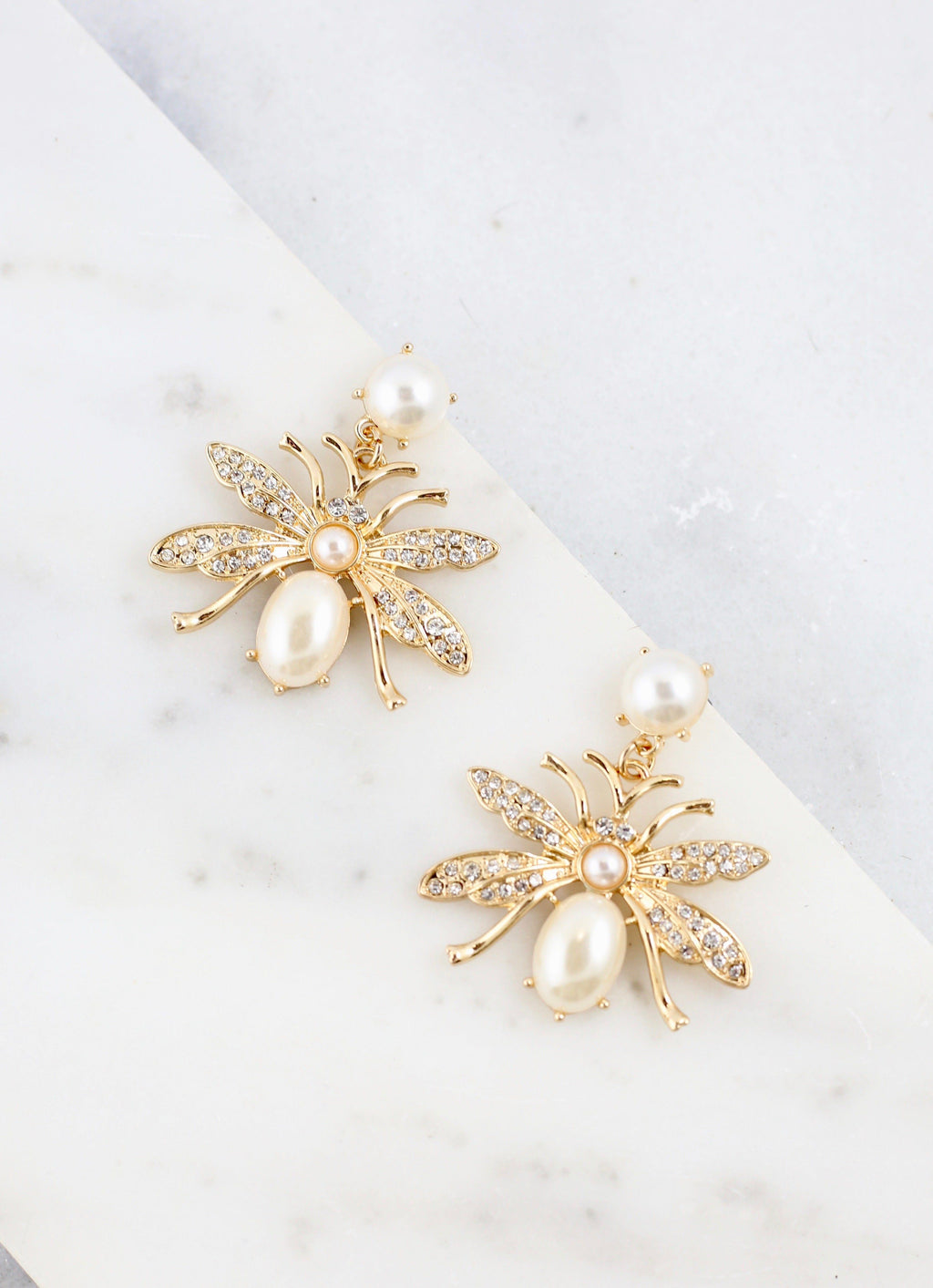 Maeberry Embellished Gold Insect Earring - Caroline Hill