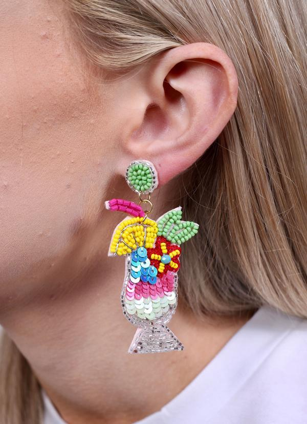 Mai Tai Cocktail Embellished Earring Pink - Caroline Hill