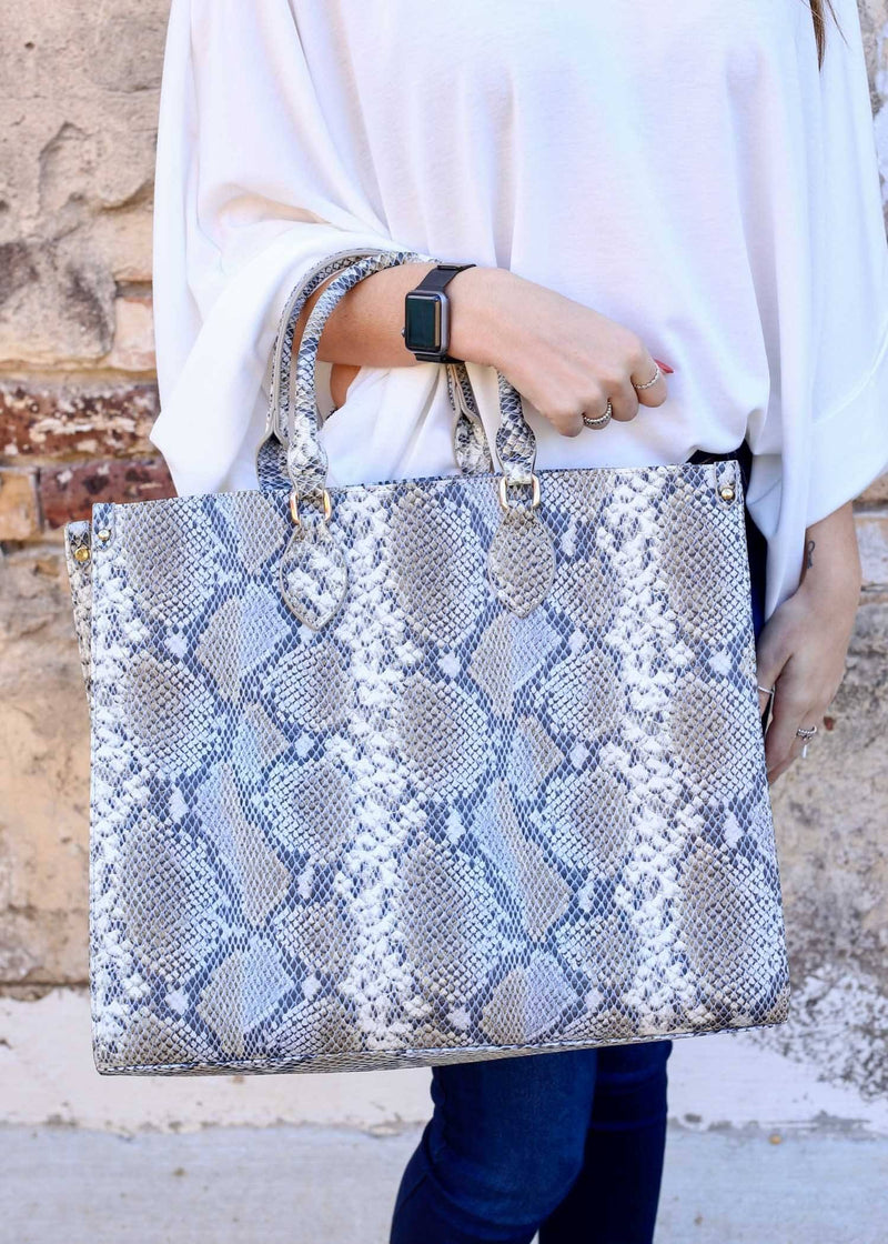 Marci Snake Denim Large Tote - Caroline Hill