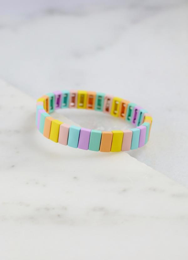 Marcy Light Multi Matte Metal Bracelet - Caroline Hill