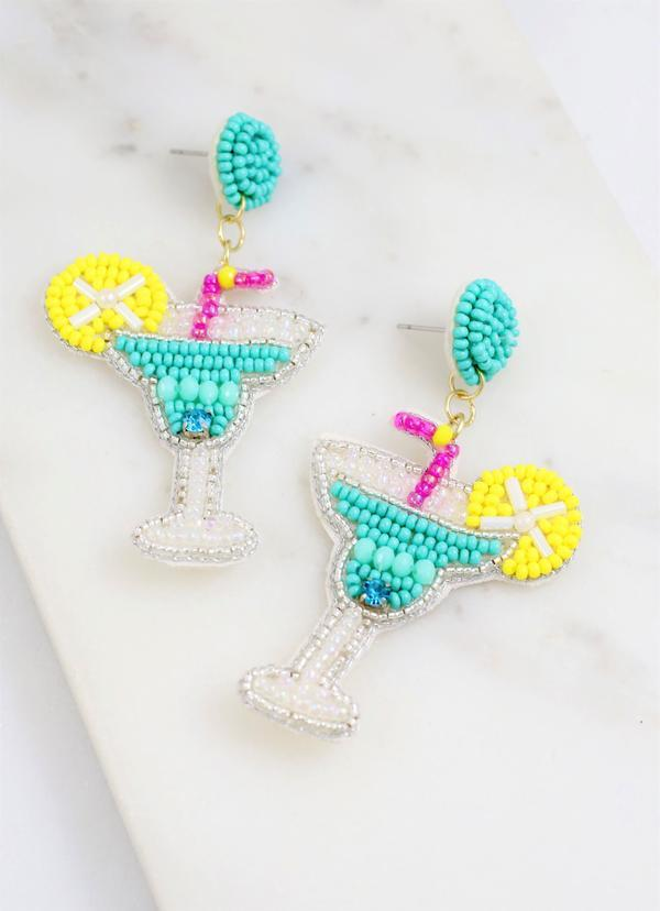 Margarita Sippin' Beaded Earring Aqua - Caroline Hill