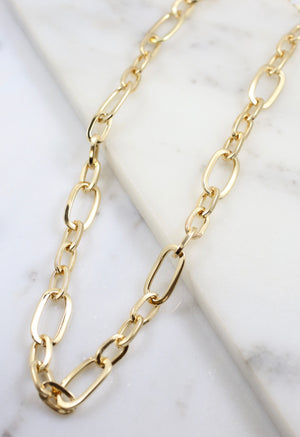 Marietta Oval Chain Link Necklace Gold - Caroline Hill