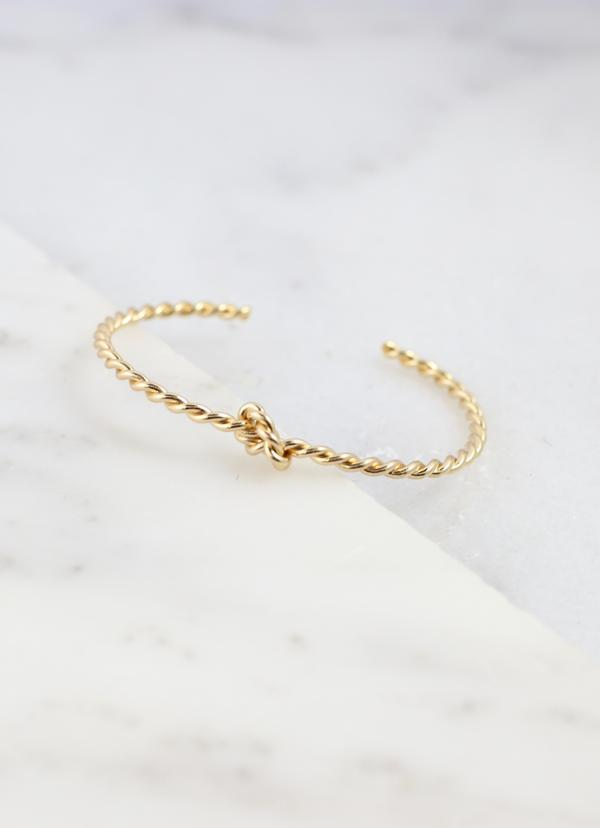 Marybelle Gold Twisted Knot Cuff - Caroline Hill