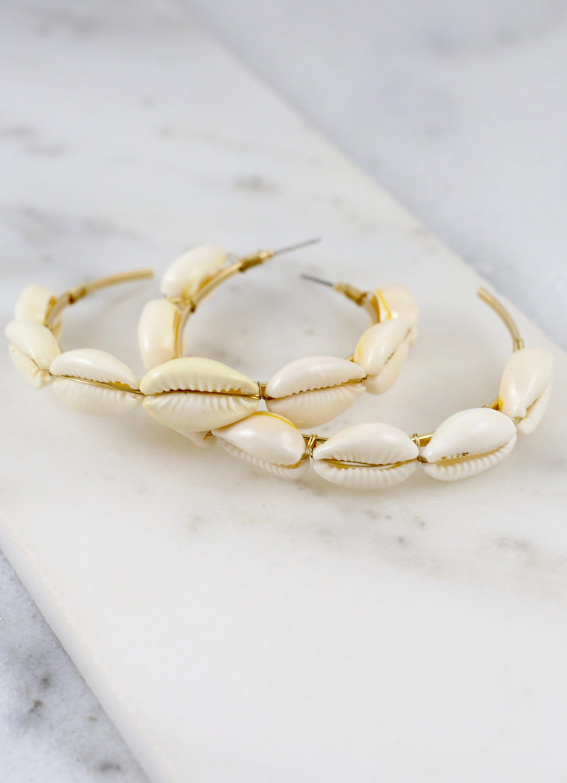 Maui Large Natural Shell Hoop - Caroline Hill